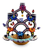 NOVICA Animal Themed Ceramic Candle Holder, Multicolor, 'Tree Of Mexican Art'