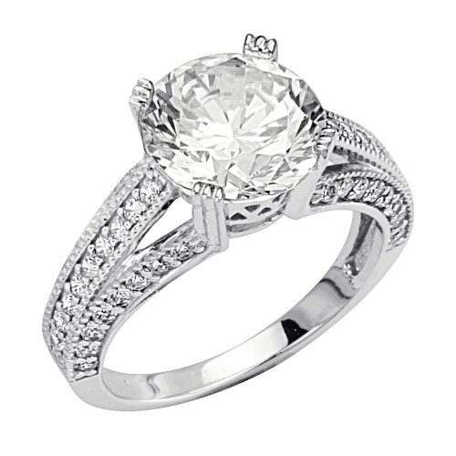 .925 Sterling Silver Round-cut CZ Cubic Ziconia Solitaire with side-stone Ladies Wedding Engagement Ring (Size 5 to 9) - Size 5