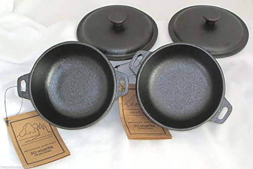 2 Cup Mini Dutch Oven,Cast Iron,Old Mountain, Pre-Seasoned w/Dome Lid Set of 2 (Small Shop Oven compare prices)