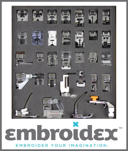 Lowest Price! Embroidex - Huge Collection of 32 Sewing Presser Feet for Brother, Babylock, New Home,...