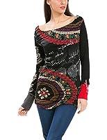 Desigual Elba - T-shirt - Imprimé - Col bateau - Manches longues - Femme