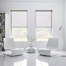 Shades 369 High Quality Custom Size Interior Roller Shades Inside Mount Window Width X Length (Polar White Blackout, 36x72)