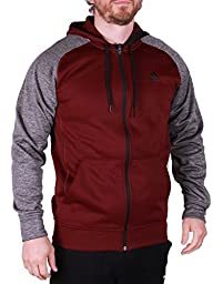 Adidas Mens Climawarm Zip up Hoodie, Xl, Maroon/grey