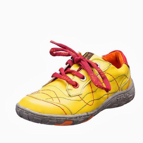 TMA EYES 1366 Schnürer Gr.36-42 mit bequemen perforiertem Fußbett , Leder 39.35 super leichter Schuh der neuen Saison. ATMUNGSAKTIV in Gelb Gr. 37