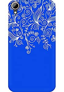 AMEZ designer printed 3d premium high quality back case cover for HTC Desire 828 (dark blue white design pattern abstract)