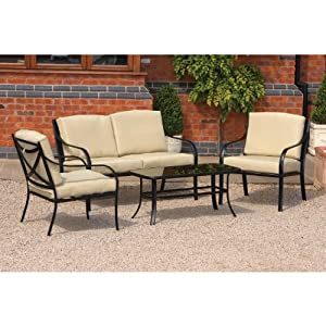 Burma Metal Garden Furniture 4 Piece Garden Sofa Set With Side Chairs And Cushions