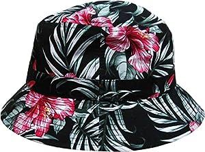 Black Floral Print Bucket Hat Hawaiian Boonie Cap by KB Ethos