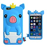 Apple iPhone 6 4.7 SILICON BLUE PIG design case smartphone bumper Flip bag Cover smartphone protection thematys®