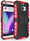 myLife Jet Black and American Rose Red {Rugged Design} Two Piece Neo Hybrid (Shockproof Kickstand) Case for the All-New HTC One M8 Android Smartphone - AKA, 2nd Gen HTC One (External Hard Fit Armor With Built in Kick Stand + Internal Soft Silicone Rubberized Flex Gel Full Body Bumper Guard)