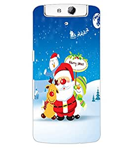 ColourCraft Merry Christmas Design Back Case Cover for OPPO N1