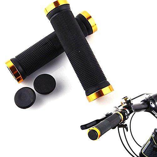 Bluesky Ergonomic Design Double Lock On Locking Bicycle Handlebar Grips Cycle Bicycle Mountain Bike (Gold) front-308963