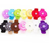 13 Large Cute Assorted Gerber Daisy Flower Hair Clip Bows with Soft Stretchy Crochet Child Headbands - Will Fit Infant Baby to Toddlers to Youth Girls