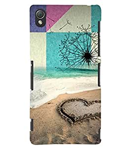 PRINTSWAG HEART ON SAND Designer Back Cover Case for SONY XPERIA Z3
