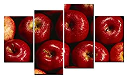 Canval prit painting Food Wall Art Red Apples Line Up 4 Pieces Picture on Canvas