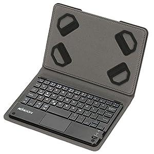KKmoon 59キー 超薄型 ミニ Bluetoothキーボード 折りたたみ磁気PUレザーケース付き