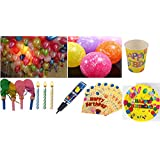Amit Marketing 50 Pieces Of HD Metallic Balloons, 10 Piece Of Happy Birthday Balloons, 20 Pieces Bugle Balloons...