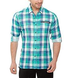 Davos Men's Cotton Casual Shirt(DS-05-Multicoloredchecks_Medium)