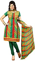 Raahi Unstitched Green Cotton Printed Dress Material - Salwar Suit