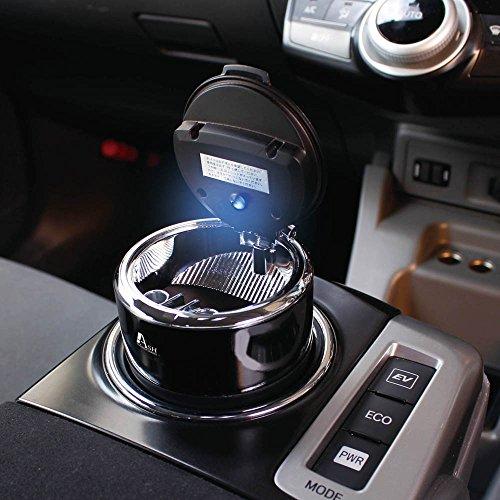 ヤック 車用 灰皿 タンブラーアッシュ ドリンクホルダー型 ブラック LED付き PZ-703