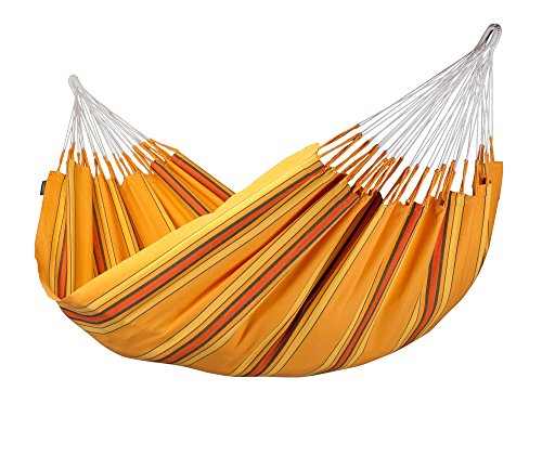 LA SIESTA Currambera Colombian Open Loop Style and Rip Proof Double Hammock, Apricot
