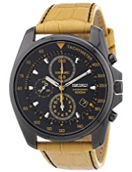 Seiko Wrist Watch For Men, SNDD69P1, Black Round Dial, Beige Leather Strap, Quartz Movement, Water Resistance