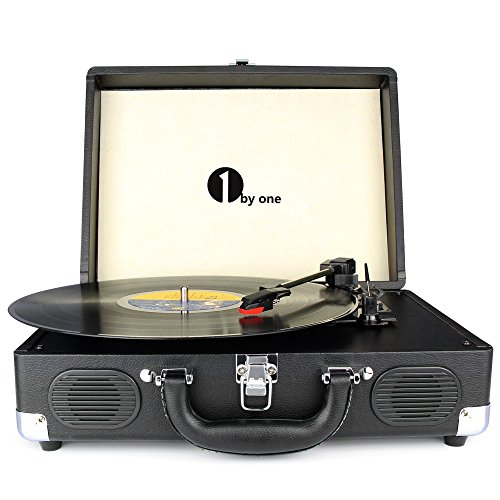 1byone-Belt-Drive-3-Speed-Portable-Stereo-Turntable-with-Built-in-Speakers-Supports-RCA-Output-Headphone-Jack-MP3-Mobile-Phones-Music-Playback-Black