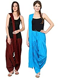 Mango People Products Patiala Salwars And Dupatta Set Combo(Free Size,Brown & Sky Blue By Mango People Products)