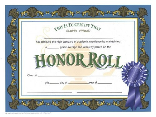Buy HAYES SCHOOL PUBLISHING H-VA512 CERTIFICATES HONOR ROLL WITH BLUE RIB.