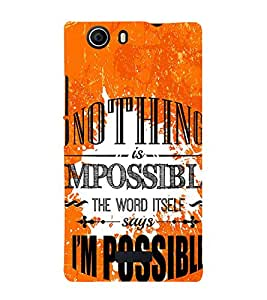 Nothing is Impossible 3D Hard Polycarbonate Designer Back Case Cover for Micromax Canvas Nitro 2 E311 :: Micromax Canvas Nitro 2 (2nd Gen)