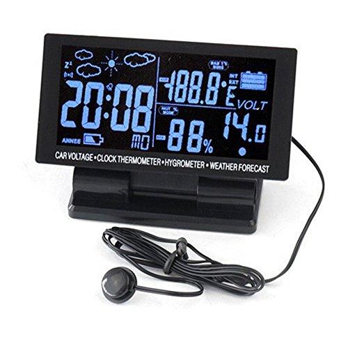 PolarLander 4 en 1 Thermomètre numérique de voiture écran LCD hygromètre 12V DC Thermohygrographe Météo Voltage Clock