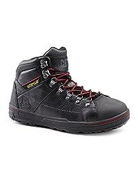 Caterpillar SureGrip Mens Brode Hi SG Steel Toe Black/Red Work Shoes Work Boots