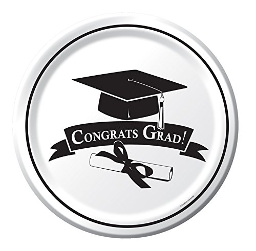 Creative Converting 18 Count Congrats Grad School Color Dinner Paper Plates, White