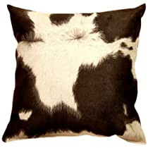 Dakotah 17 by 17-Inch Cowhide Knife Edge Pillow, Black/White, Set of 2