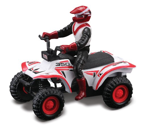 Maisto Racing #350 (White) * Off-Road Series Motorized ATV * 2010 Maisto ATV's Fresh Metal Pull-Back Motor Die-Cast Vehicle