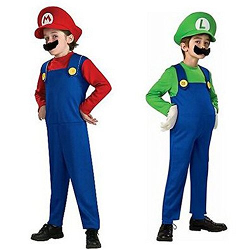 Nikki's Dressing Room Halloween Kids Mario & Luigi Garden Cosplay Costume (XL, Green) (Mario And Luigi Costumes Kids)