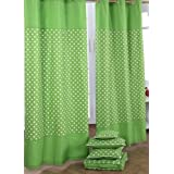 100% Cotton Stars Green Ready Made Eyelet Curtain Pair