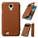 Jisoncase Genuine Leather Folio Flip Designer Cases & Covers for Samsung Galaxy S4 With Smart Cover Function(Auto Awake&Sleep) 100% Handmade Samsung Galaxy S4 Phone Holder/Holster/Defender Black Color JS-SM4-02C10 (Brown)