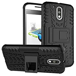 ARNAV Kick Stand Spider Hard Dual Rugged Armor Hybrid Bumper Back Case Cover For Motorola MOTO G4 PLAY BLACK-3