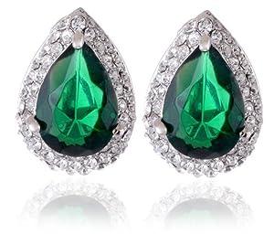Neoglory Silver Plated Green Crystal Tear Drop Cinderella Earrings