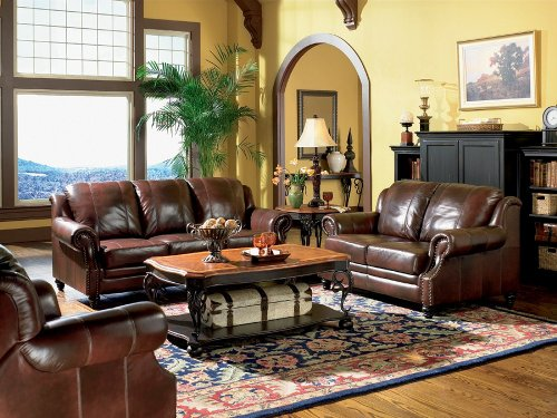 Buy Low Price AtHomeMart 2 PCs Classic Tri Tone Leather Sofa and Loveseat Set (COAS500661-500662)