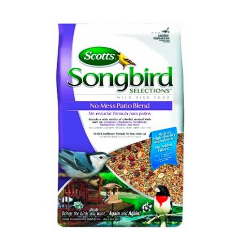Songbird Selections 1022791 No-Mess Patio Seed Blend Wild Bird Food Bag, 11-Pound