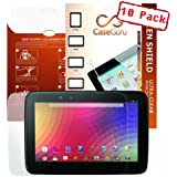 CaseGuru Nexus Tablet Collection 10 Pack LCD Ultimate Clear Screen Protectors With 3 Layer Structure For Google Nexus 10 + Microfibre Cleaning Cloth