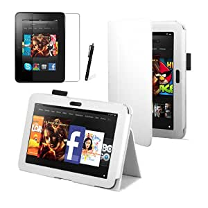 """White Luxury Multi Function Standby Case for the New Kindle Fire HD 7"""" 16GB or 32GB with Built-in Magnet for Sleep / Wake Feature + Screen Protector + Capacitive Stylus Pen"""
