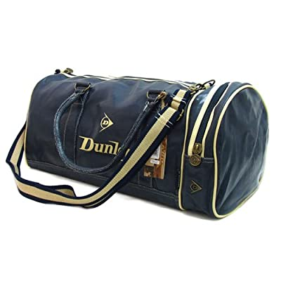 Back to School Dunlop Navy Blue Retro Distressed leather look Holdall Shoulder Gym bag with Ecru trim