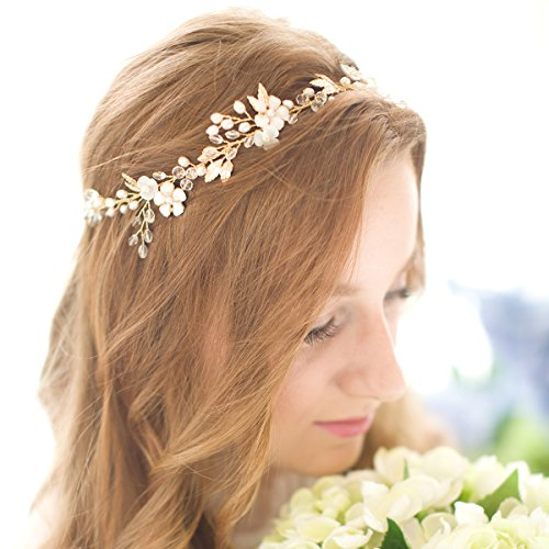 Remedios Handmade Vintage Shell Flower Crystal Wedding Bridal Hair Vines Headband