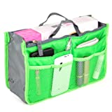 World Pride Nylon Handbag Insert Comestic Gadget Purse Organizer (Green)