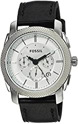 Fossil Men's FS5038 Machine Stainless Steel Watch with Black Leather Band
