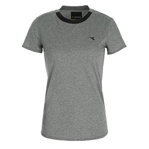 Diadora L.Evo SS T-shirt Donna, Grigio Melange Medio Chiaro (C5493 ), XS