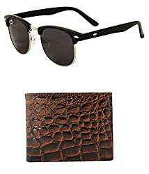 Aventus Combo of Black Clubmasters & Croc Design Wallet