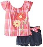Young Hearts Baby Girls' 2 Piece Short Set with Flower Emblems